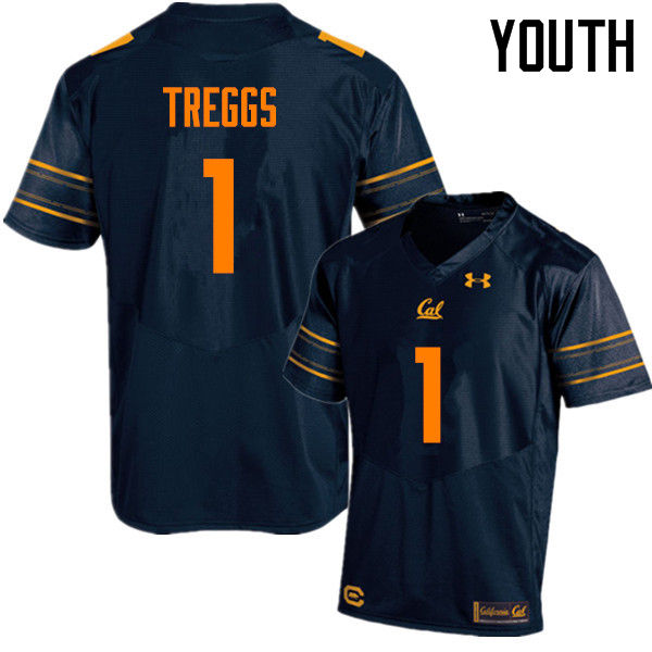Youth #1 Bryce Treggs Cal Bears (California Golden Bears College) Football Jerseys Sale-Navy