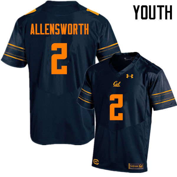 Youth #2 Darius Allensworth Cal Bears (California Golden Bears College) Football Jerseys Sale-Navy