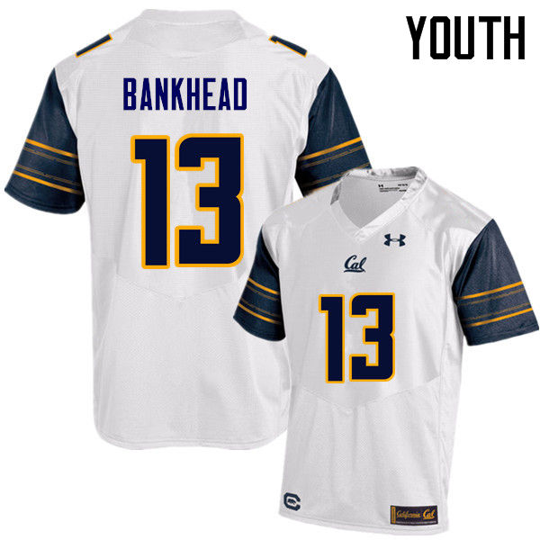 Youth #13 Greyson Bankhead Cal Bears (California Golden Bears College) Football Jerseys Sale-White